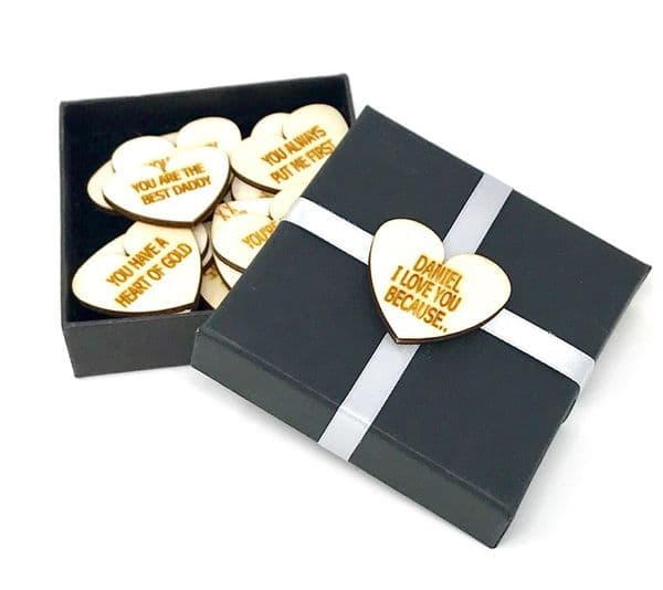 I Love You Because....Personalised Wooden Hearts With 10 Messages Of Your Choice